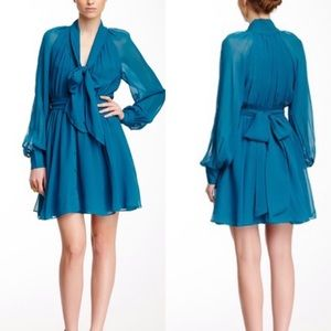 RACHEL ZOE ✨NWT✨ Teal Silk Arielle Bishop Dress